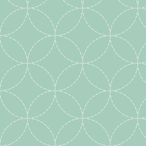 faux sashiko circles on mint