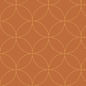 faux sashiko circles - gold on copper