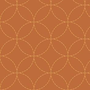 faux sashiko circles - gold on copper