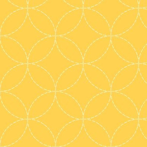 faux sashiko circles on honey gold