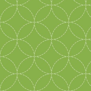 faux sashiko circles on fresh green