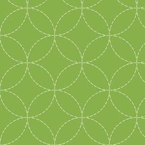 faux sashiko circles on fresh green