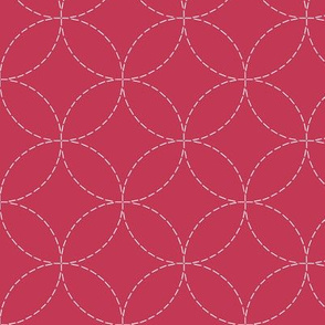 faux sashiko circles on soft red