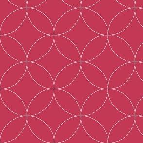faux sashiko circles on soft red