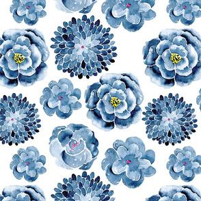 Navy Watercolor Flowers