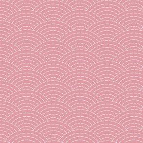 faux sashiko scallop on hyacinth pink