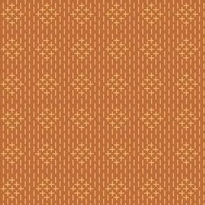 faux sashiko diamonds, gold on copper