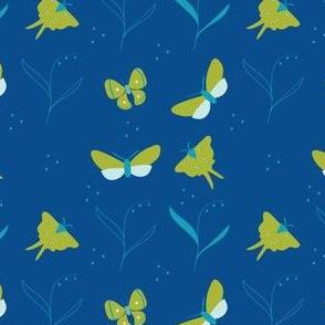 Flying Moths on navy