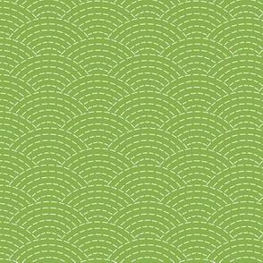 faux sashiko scallop on fresh green