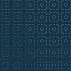 faux sashiko squares - red on nautical navy