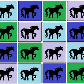 Horse Squares Cheater Quilt Pattern