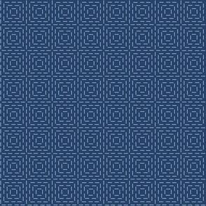 faux sashiko squares on navy