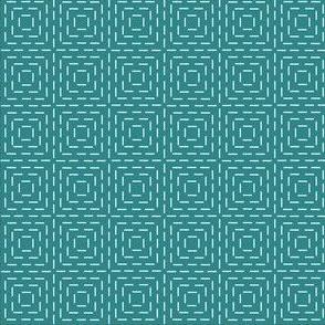 faux sashiko squares on teal