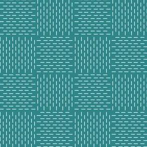 faux sashiko weave on teal