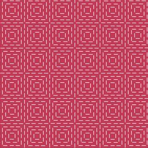 faux sashiko squares on red