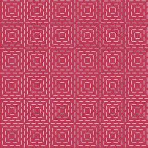 faux sashiko squares on red
