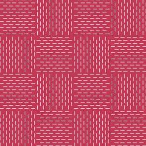 faux sashiko weave on red