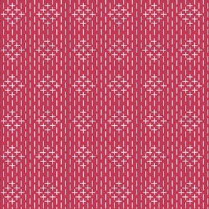 faux sashiko diamond on red