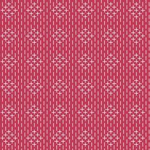 faux sashiko diamond on red