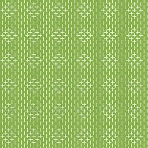 faux sashiko diamonds on fresh green