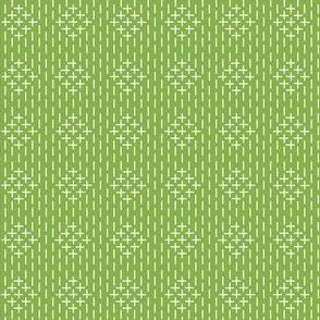 faux sashiko diamonds on fresh green