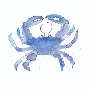 blue watercolor crab
