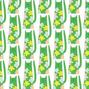 Flower Power cats- green