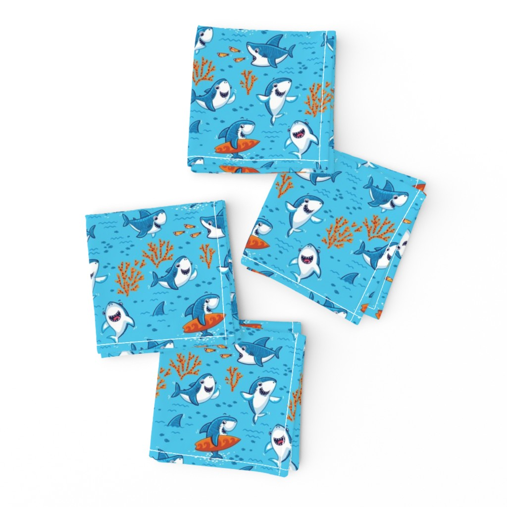 Frizzle Cocktail Napkins featuring Sharks by penguinhouse