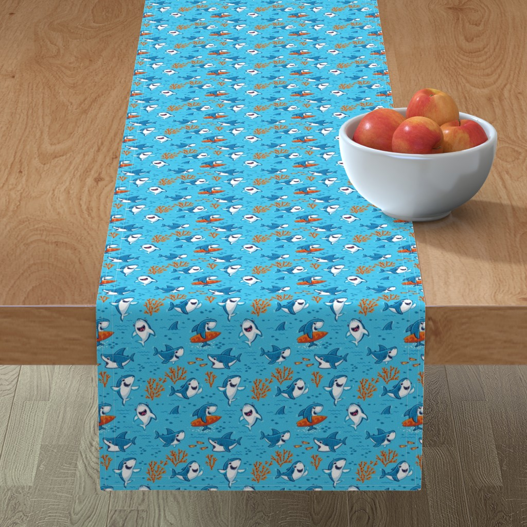 Minorca Table Runner featuring Sharks by penguinhouse