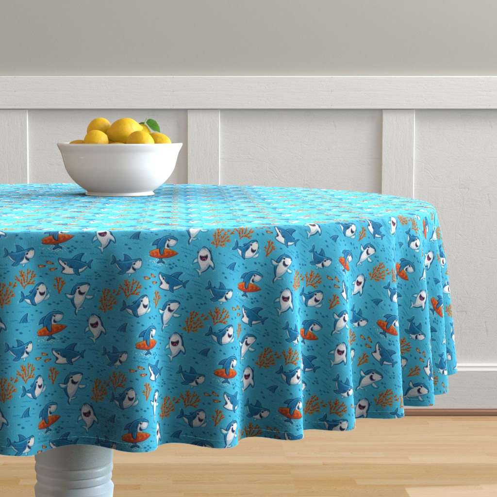 Malay Round Tablecloth featuring Sharks by penguinhouse
