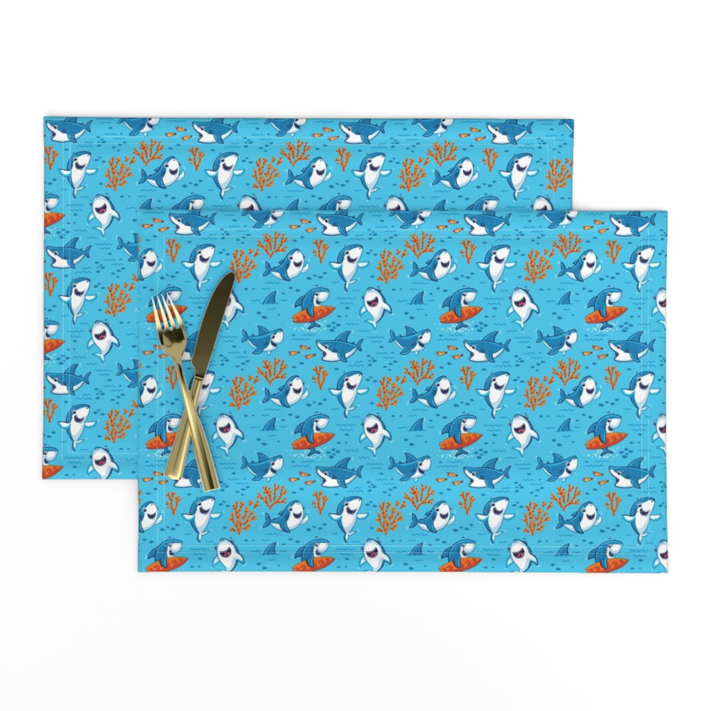 Lamona Cloth Placemats featuring Sharks by penguinhouse