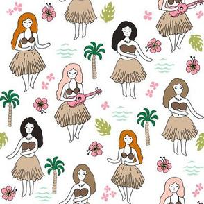 hula girls // simple summer surf retro fabric white background girls surf summer design