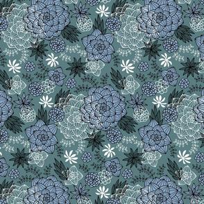 Graphic succulents navy