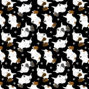 Trotting Papillons and paw prints - black