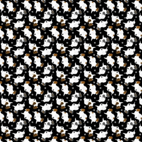 Trotting Papillons and paw prints - tiny black