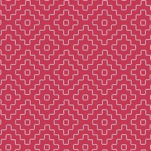 faux sashiko pluses in soft red