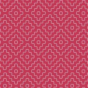 faux sashiko pluses in soft red