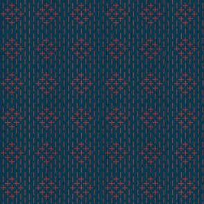 faux sashiko diamond - red on nautical navy