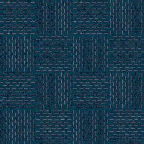 faux sashiko weave - red on nautical navy