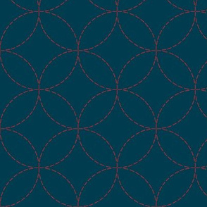 sashiko circles - red on nautical navy
