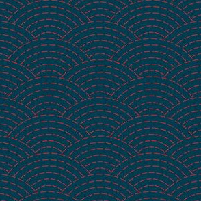 faux sashiko waves - red on nautical navy