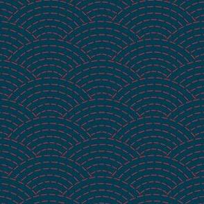 faux sashiko waves - red on nautical navy