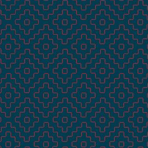 faux sashiko plus - red on nautical navy