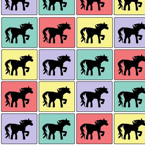 Horse Squares Cheater Quilt Pattern - Girly