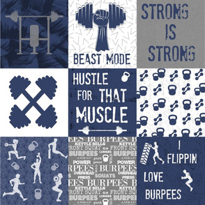 Navy crossfit cheater quilt 6 inch squares