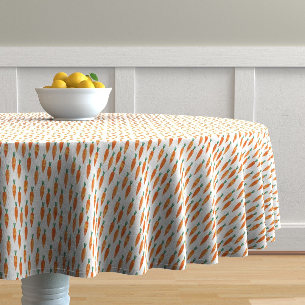 Malay Round Tablecloth featuring carrots (small scale) by littlearrowdesign