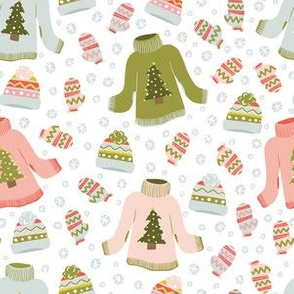 HOLIDAY CHEER SWEATERS, MITTENS, BEANIES