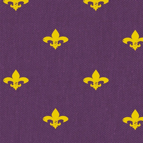 Fleur de Lis Honey Gold and Purple