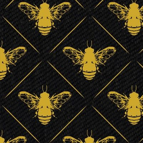Gold Bees Lines on Black