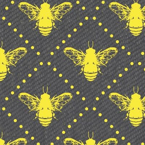 Gold Bees Dots on Grey